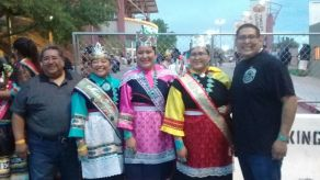 (Lt-rt) Zuni Governor Val Panteah, Miss Indian NAU Kiana Estate (Zuni), Miss Indian NMHU Jerika Lementino (Zuni), Miss Indian NM Janessa Bowekaty (Zuni), Councilman Carton Bowekaty (Zuni)