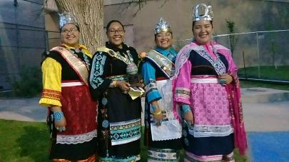 (lt-rt) Miss Indian NM Janessa Bowekaty (Zuni), Contestant for Miss Indian World Tyra Quetawaki (Zuni), Miss Indian NAU Kiana Estate (Zuni, Hopi), Miss Indian NMHU Jerika Lementino (Zuni)
